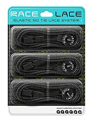 No Label Race Lace - Elastische Sport Schnürsenkel Mit Schnellverschluss + Schnellschnürsystem   Komfort, Halt + Zeit Sparen mit Profischnürsenkel für Sportschuhe   Ideal Für Kinder & Erwachsene 3 x (Muster Labels)