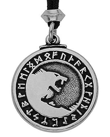Handgemachte Wikinger Gott Odin Krieger Wolf Zinn Anhänger (auf schwarzem Seil) (Schmuck Führer)