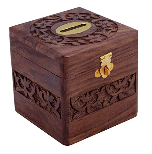 Craft Art India Decorative Handmade Wooden Square Shape Money Bank/Piggy Bank/Coin Bank = With Lock {Cai-Hd-0198/Size(Inch) :4X4X4}