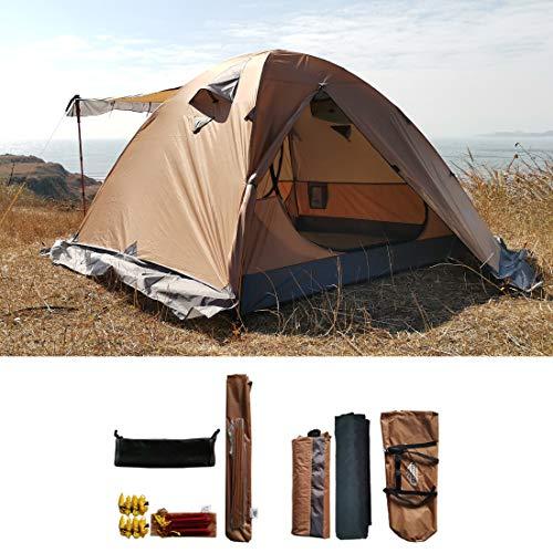 Campal MT066 Professionelles Bergzelt für 3 bis 4 Personen, sehr widerstandsfähig gegen Wind und Regen, leichte Rucksackreisen-Zelte, wasserdichte Jagd, Wandern, Camping-Zelt, Khaki