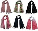 FusFus Printed Designer Poly Cotton Set of 6 Mullticoloured stoles ; Trendy scarf stoles dupatta for Girls/Ladies/Women (F0169)