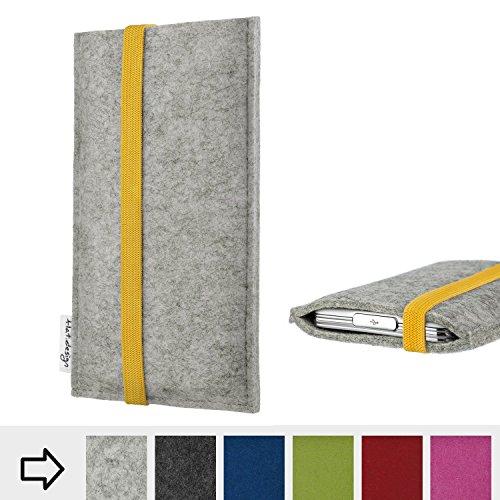 flat.design Handyhülle Coimbra mit Gummiband-Verschluss für Huawei P20 Pro Dual-SIM - Schutz Case Etui Filz Made in Germany in hellgrau gelb - passgenaue Handy Tasche für Huawei P20 Pro Dual-SIM