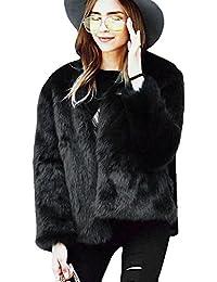 4b2e853c Samber Chaqueta Corta de Piel Faux Abrigo con Manga Larga para Mujer de  Invierno