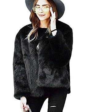 Samber Chaqueta Corta de Piel Faux Abrigo con Manga Larga para Mujer de Invierno