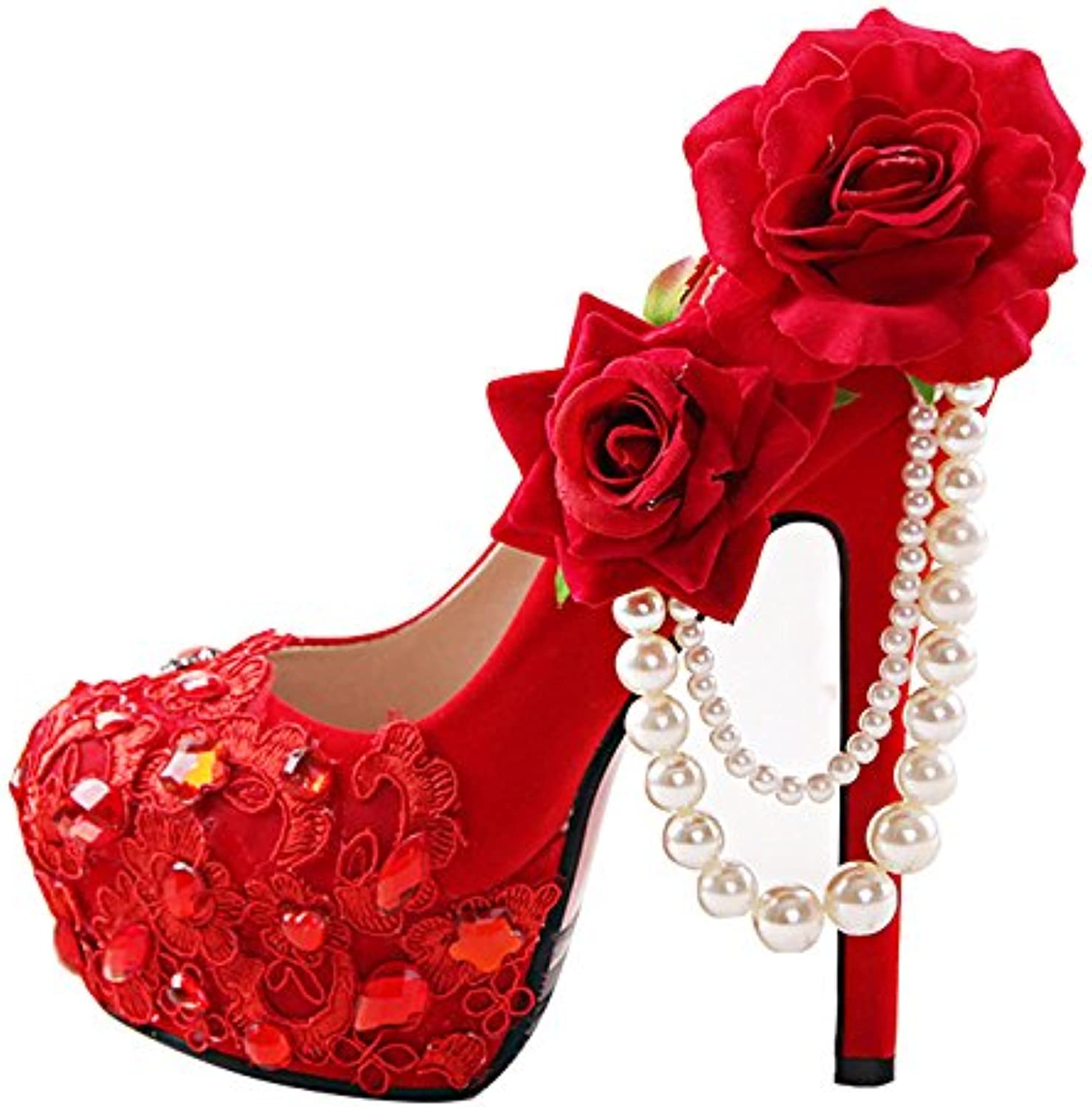 VIVIOO Prom Prom Prom Sandals rosso Peony,Flower,Rhinestone,Bride's,High Heels,Fine Hair,Wedding Dress,Formal Dress,Toasting... | Terrific Value