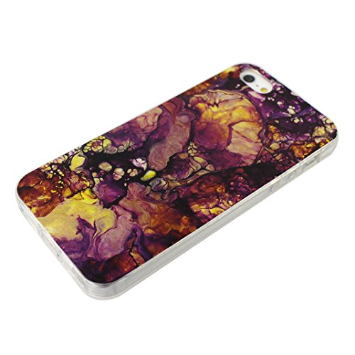 Cover iPhone SE Morbido, Custodia iPhone 5 5S Cover TPU Silicone Case, Moon mood® Ultra Sottile Marble Design Cover Clear TPU Bumper Soft Case Rubber Silicone Skin Cover Protettivo Custodia per Apple  Marble Pattern 4#