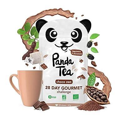 Panda Tea - Thé Detox Bio Parfum Chocolat - 28 sachets en coton cousus main - Thé noir - Cacao