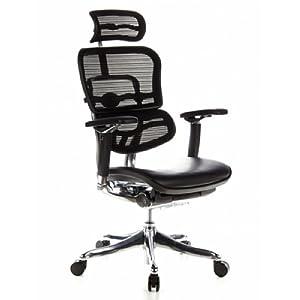 hjh OFFICE 652640 silla de oficina ERGOHUMAN PLUS tejido de malla y cuero negro, alta calidad, amplios ajustes, sólido aluminio pulido, ergonómico, sillón alta gama