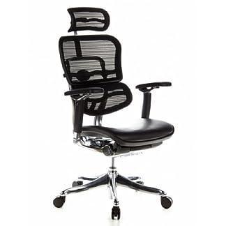 hjh OFFICE 652630  Ergohuman Plus – Silla de oficina,  asiento de piel y respaldo en malla negra