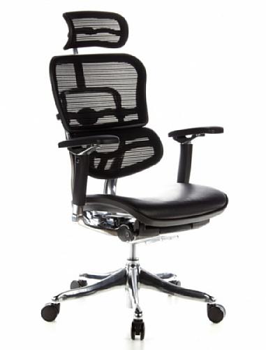 HJH OFFICE 652640 Bürostuhl / Chefsessel ERGOHUMAN PLUS Sitz Leder / Rücken Netz schwarz
