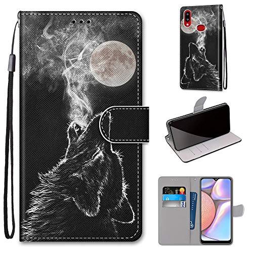 Miagon Flip PU Leder Schutzhülle für Samsung Galaxy A10S,Bunt Muster Hülle Brieftasche Case Cover Ständer mit Kartenfächer Trageschlaufe,Heulen Wolf