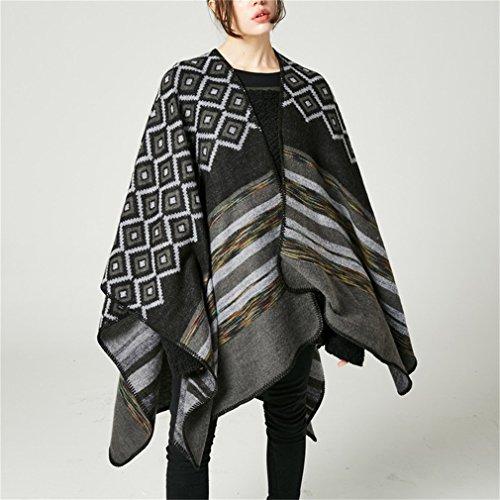 Honghu Cape Poncho Femme Tricot,Poncho Capes Châle Ouverture Extra Large écharpe Châle Poncho Automne Hiver Noir