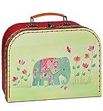 Kinderkoffer KLEIN - Elefant / Vogel grün Indien rot - Pappkoffer - Puppenkoffer Koffer Kinder Pappe Karton - ideal für Spielzeug und als Geldgeschenk
