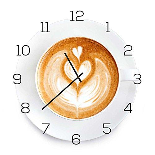 levandeo Wanduhr aus Glas 30x30cm Uhr als Glasbild Küche Cappuchino Kaffee Coffee Deko (Wanduhr Küche)