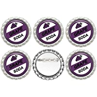 Crafting Mania LLC. 5 Grape Soda Silver Bottle Caps With Button Pins
