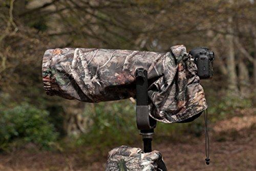 """Kamera/Objektiv Regenschutz/Regenhülle, beidseitig nutzbar, zweischichtig, für Tamron 150-600 F5-6.3 DI VC & G2, Material """"True Timber KANATI"""", olivgrüne Rückseite aus wasserdichtem Nylon (Schwarz Zugschnur Baumwolle)"""