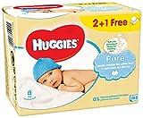 Huggies Pure Salviette Umidificate per Bambini, 3 Pacchi da 56 Pezzi