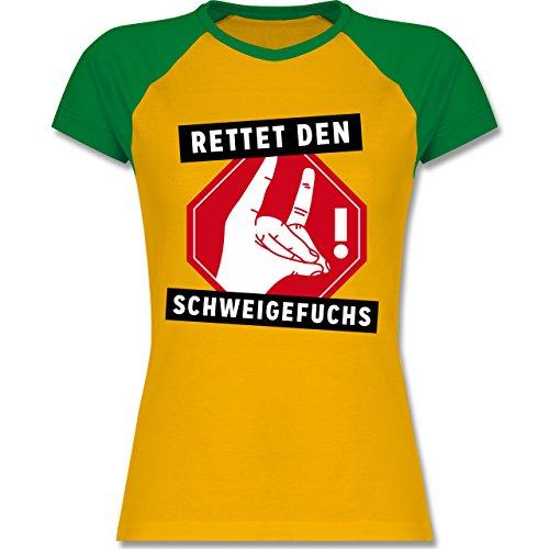 Lehrer - Rettet den Schweigefuchs - zweifarbiges Baseballshirt / Raglan  T-Shirt für Damen Gelb