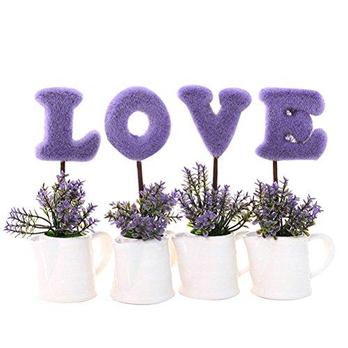 WINOMO LOVE Mini Künstliche Pflanzen Set Kleine Topfpflanzen Simulation Blumentöpfe Home Tisch Fenster Dekor Hochzeit Supplies (Lila)