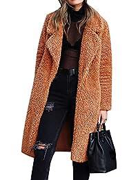 RainBabe Invernale Moda Cappotto Lungo Donna Parka di Peluche Tinta Unita  Caldo Giacca Lunga 18be0ffd929