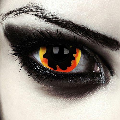 Feurig schwarze farbige Mini Sclera Kontaktlinsen 17mm Halloween Kostüm Farblinsen + Gratis Kontaktlinsenbehälter (Dying ()