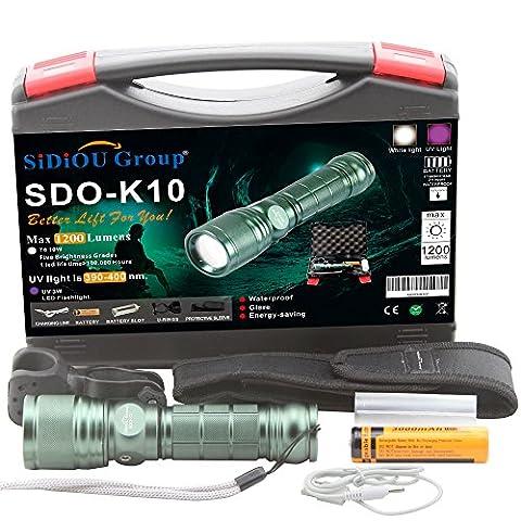 Sidiou Group super helle Cree T6 LED Taschenlampe 900 Lumen-7W Zoomable Fackel mit 1 x 3.7V 3000mAH 18650 Li-Ionen-Akku (K10-Kit)
