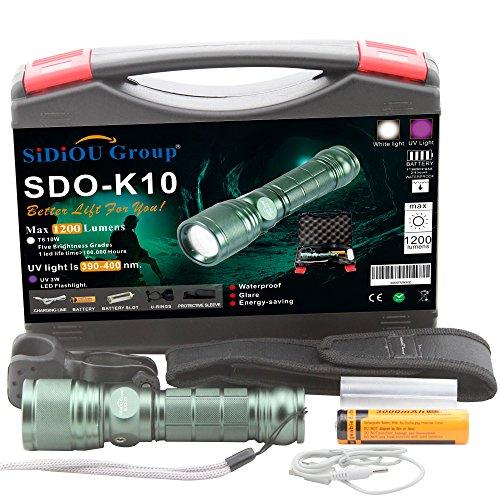 Sidiou Group Super Bright XM-L T6 Einstellbare Zoom Taschenlampe Q5 LED Lila UV Licht Ultraviolett Taschenlampe 1200 Lumen USB Ladeleitung 3000mah 18650 Batterie Mit Fahrrad Halterung Super Bright Aluminium Torch