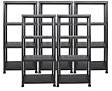 Ondis24 Steckregal 60 x 30 x 135 (H) cm, 4 Böden, Kunststoffregal, Schwerlastregal, bis zu 80 kg, Regal, Lagerregal (5 Stück)