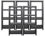 5x Ondis24 Regal Lagerregal Steckregal Kunststoffregal Schwerlastregal 60 x 30 x 135 cm