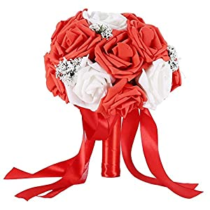 TOPINCN Ramo de flores artificiales de flores de rosas artificiales para decoración de boda, accesorios de fiesta de…