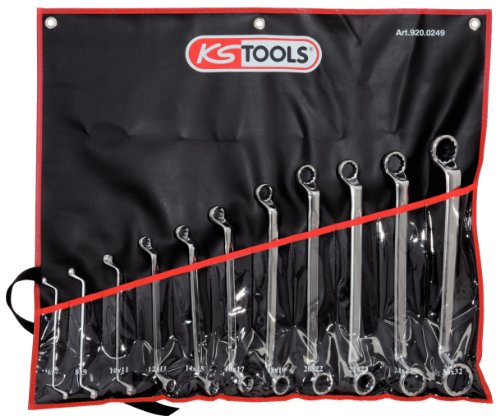 KS TOOLS 920 0249 - PACK DE 11 PIEZAS CON LLAVES POLIGONALES DOBLES ULTIMATE  EN BOLSA ENROLLABLE (ENTRECARAS 6 X 7 - 30 X 32 MM)