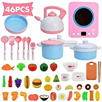 QPP-CL 46 Pcs Kids Kitchen Pretend Play Toys, Cookware Toys with Pots And Pans for Toddlers, Cooking Playset Toys for 2 3 4 5 6 7 Years Old, Kitchen Playset Accessories with Plastic Food