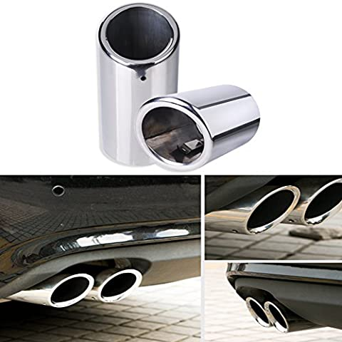 Raysen 2 Set 304 Stainless Steel Exhaust Tailpipe Exhaust Silencer