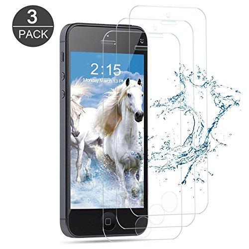 [3-Pack] Vetro Temperato iPhone 5S / SE / 5C / 5, Vanzon Pellicola Protettiva in Vetro Temperato Screen Protector Film Ultra Resistente (0,33mm HD Alta trasparente) per Apple iPhone 5S /SE /5C / 5 (4 inch)