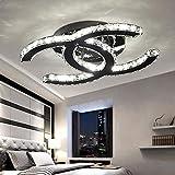 48W LED Deckenleuchte Modern Einfache Romantische Wohnzimmer Esszimmer Schlafzimmer K9 Crystal Klar Deckenlampe Elegante Edelstahl Spiegel Lampe Creative Studie Deckenbeleuchtung L75cm * W58cm Dimmbar