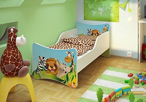 Best For Kids Babybett KINDERBETT mit Schaummatratze mit TÜV ZERTIFIZIERT Jugendbett 70x140 + Matratze + Lattenrost +WANDAUFKLEBER (Zoo)