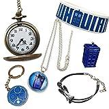 Doctor Who Geschenk beinhaltet: Taschenuhr, Halskette, Armbänder, Schlüsselring und Brosche. Geschenk-Kissen-Box.