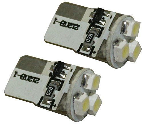 Aerzetix: 2x Ampoules T10 W5W W3W 12V à 3 LED SMD - C1731- Pour veilleuses feux de position plafonnier plancher éclairage intérieur plaque d'immatriculation