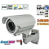 """BW BW40T7 1/3 """"Sony Effio-E 700TVL 960H Cámara de alta resolución de la cámara de la bala Cámara de seguridad casera Cámara de vigilancia infrarroja de la cámara del CCTV del IR con 2.8- 12m m Zoom y foco (IR 40M), OSD -White"""