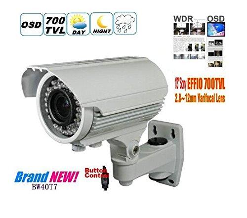 BW BW40T7 1/3 SONY EFFIO-E 700TVL 960H CAMARA DE ALTA RESOLUCION DE LA CAMARA DE LA BALA CAMARA DE SEGURIDAD CASERA CAMARA DE VIGILANCIA INFRARROJA DE LA CAMARA DEL CCTV DEL IR CON 2 8- 12M M ZOOM Y FOCO (IR 40M)  OSD -WHITE