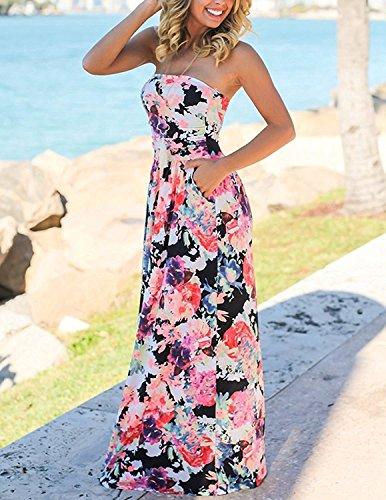 Minetom Damen Mode Bandeau Bustier Kleider mit Blüte Drucken Lange Sommerkleid Ärmellos Abendkleid Partykleid Maxikleid Cocktailkleid Blume C