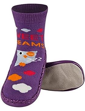 Sevira Kids Zapatillas-calcetines antideslizantes con suela de 100% piel auténtica, tallas 23-32
