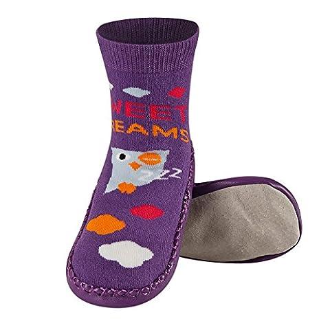 Chaussons chaussettes antidérapantes avec semelle en véritable 100% cuir - Taille de 31/32 Hibou