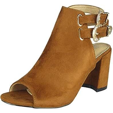 Damen Peeptoe Slingback Schuhe Damen Faux Velours Schnalle Hoch Hacke Sandalen Größe 36