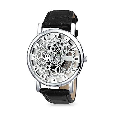 Bling Jewelry Support de verre noir Cuir Alliage squelette Mens Watch