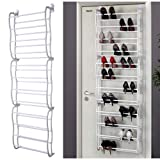 Vinsani 12 tier 36 Pairs Over the Door Shoe Rack Storage Stand organizer (White)