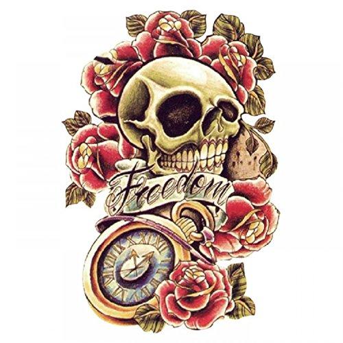 GGSELL Halloween Tattoo für Männer und Frauen Bunte Schädel mit Rosen und mit dem Wort Freiheit - Halloween-make-up Leicht Von Hand
