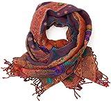 ufash Pashmina Schal, handbestickt & warm, aus Punjab, Indien, Paisley Muster, 180 x 70 cm - 100% Wolle, Rot