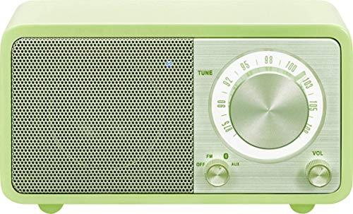 Radio de escritorio portátil Sangean WR-7 (sintonizador FM RDS, Bluetooth, entrada auxiliar, altavoz incorporado, batería recargable (recargable)), verde