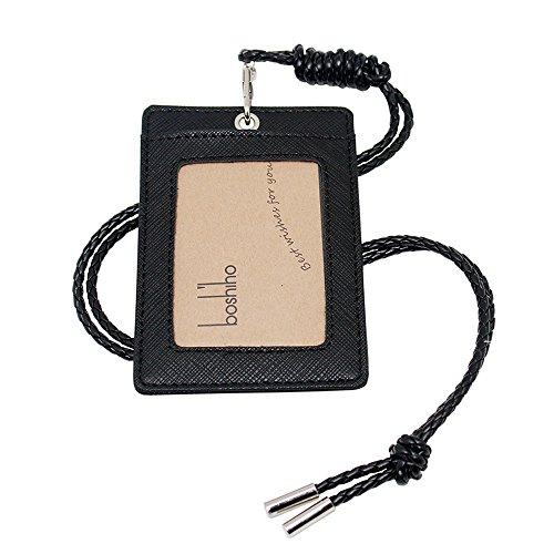 boshiho Leder ID Card Badge Holder mit schweren Pflicht Lanyard Vertikale Stil schwarz